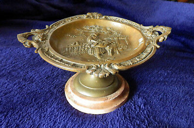 An antique French bronze tazza with pastoral  scene