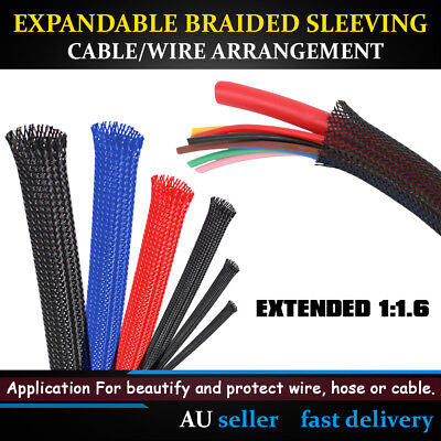 AU Expandable Braided Sleeving Car Home Office Wire Cable Arrangement Protection