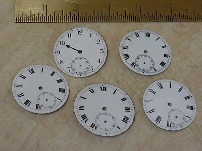 5 Old-Antique Enamel Pocketwatch Dials