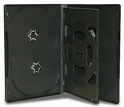 10 x Hold 6 14mm Standard Case Hex DVD Cover Disc holds 6 discs outer wrap BLACK