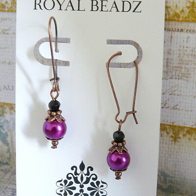 Victorian Vintage Style Magenta Pink Pearl Jet Black Crystal Copper Earrings
