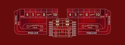 Craps layout 12 foot choice of 3 colors