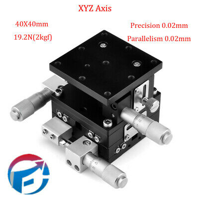 3 Axis XYZ Linear Stage Trimming Platform Bearing Tuning Sliding Table 40x40mm