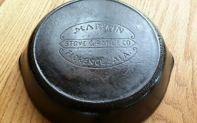 Antique Martin Stove & Range Florence, Ala. Cast Iron Skillet #5 w/Heat Ring 8""