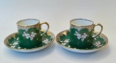 Pair Of Crown Staffordshire Demitasse Tea Cup and Saucer, Green White Gold