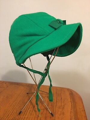 Vtg 50's-60's Little Baby's Girl's GREEN Bonnet Hat w/ Grosgrain Bow & Tie