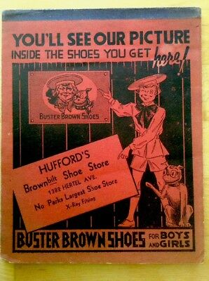 Antique Buster Brown Shoes Advertising School Note Pad Hufford's Shoe Store, NY