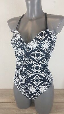 New Playful Promises Swimsuit with Strappy Back in Mono Print RRP £65 SE23