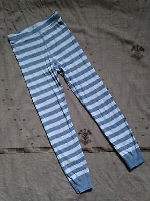 Hanna Andersson Gray and White Striped Long John Pajama Bottoms, Size 130