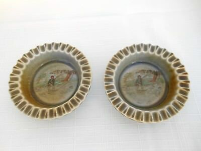 TWO Vintage Ashtrays/Coasters Wade Co. Armagh Made in Ireland FLY FISHING VGC