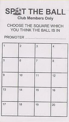 20 space spot the ball cards - 25 or 50 pack