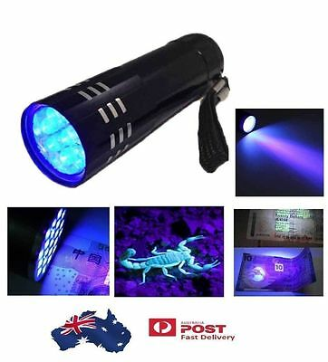 Mini Aluminum UV ULTRA  9 LED FLASHLIGHT Torch Light Lamp AUG9