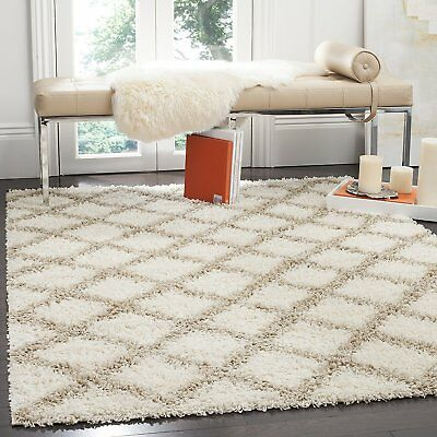 Safavieh SGD258B-3 Dallas Shag Collection and Beige Area Rug, 3' x 5', Ivory