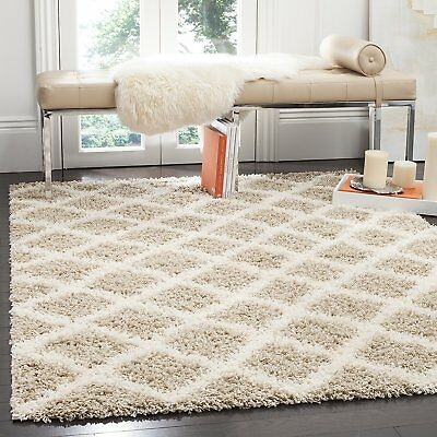 Safavieh SGD258D-3 Dallas Shag Collection and Ivory Area Rug, 3' x 5', Beige
