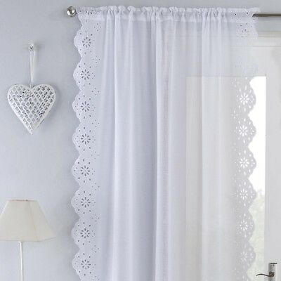 Harmony Embroidered Voile Slot Top Curtain Panel - White