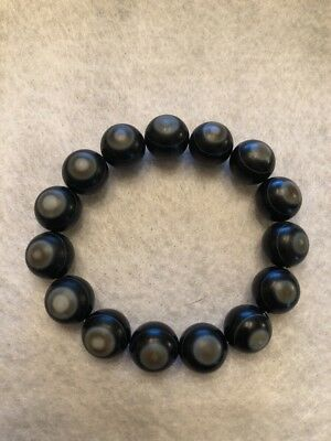 Old Authentic Tibetan Natural Carved Agate Holy Eye Buddha Dzi Bead Bracelet