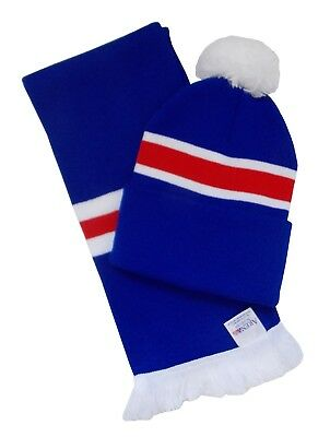Rangers Supporters Royal Blue, Red, and White Retro Bar Scarf and Hat Set