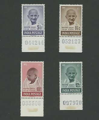 INDIA 1948 GANDHI STAMPS MNH OG SET UNIQUE SERIAL NUMBERS (hinged) VF #SG305-308
