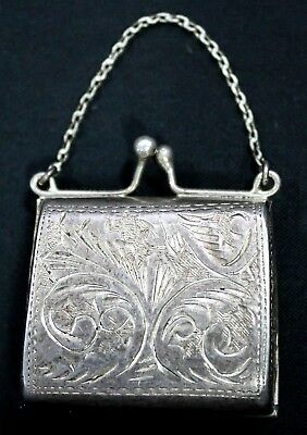 .925 Sterling Silver Antique Engraved Purse Pill Box