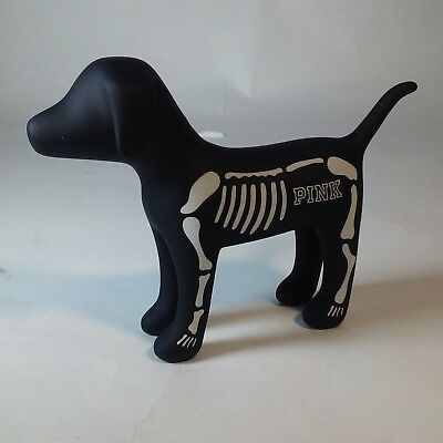 Victoria's Secret PINK 2016 Limited Edition Mini Skeleton Dog Halloween Black