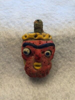 Old Vintage Antique Phoenician Handmade Mosaic glass Face Pendant Bead