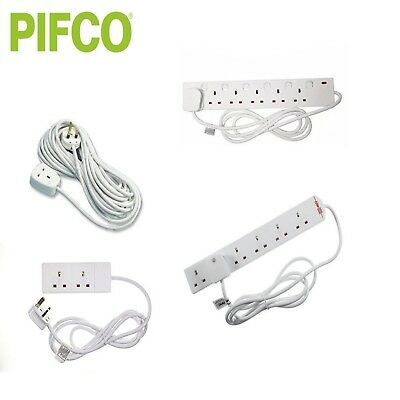 Pifco 1 2 4 6 Gang 2M 5M 10M Cable Extension Lead Surge Protected Switch