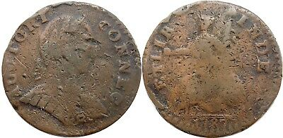 1787 Connecticut Copper, Miller 1.1-A, Smallest Head, ETLIB INDE reverse, FINE!