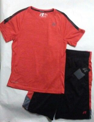 Russell Boys Athletic Active Shirt/Shorts 2 pc Set Dri Power 360 NWT 6-7 Redfire