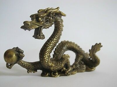 Drache Skulptur China Asien Bronze Messing