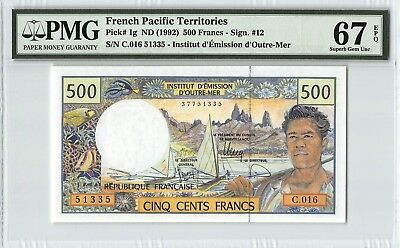 French Pacific Territories ND (1992) P-1g PMG Superb Gem UNC 67 EPQ 500 Francs