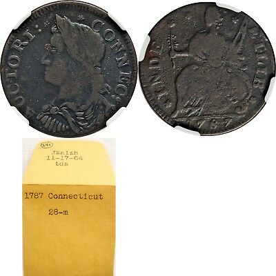 1787 Connecticut Copper, Miller 28-m, BOLD VF, VERY RARE Variety (R5+) ex KELLER