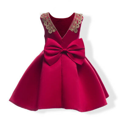 Childrens Kids Girls Fancy Red Lace Gold Sparkly Dress Bow Valentines Day K48