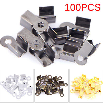 100PCS End Caps Clasps Leather Cord Crimp Bead Connectors DIY Jewelry Finding Gm