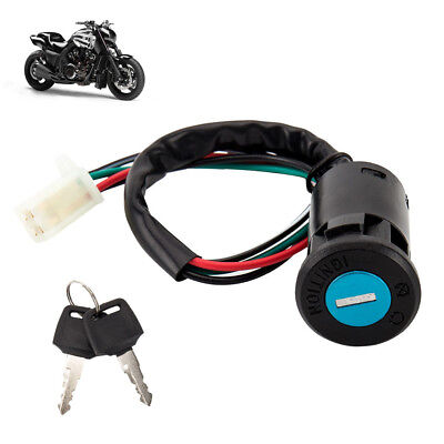 MOTORCYCLE MOTORBIKE 4 Wire Ignition Switch Key For Quad Honda ...