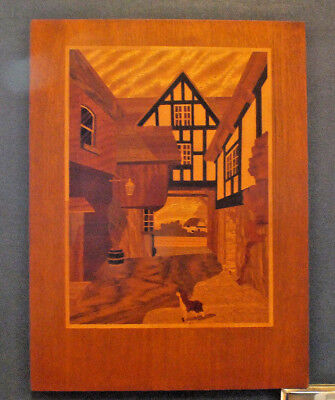 Vintage Wooden Marquetry Picture Old English Houses