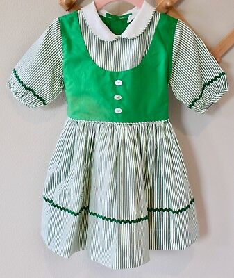 Vintage Green and White Striped Cinderella Dress 3t Toddler Girl