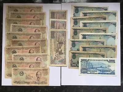 VIETNAM 13 x 2000 & 10 x 5000 Dong Banknote Paper Money Ho Chi Minh bundle lot