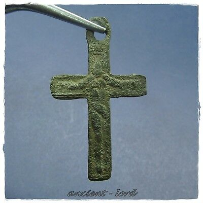 **  CROSS  ** ANCIENT BYZANTINE BRONZE PENDANT double-side!crucifixion of Christ