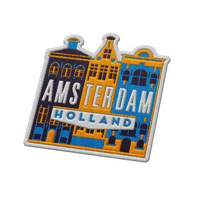 Amsterdam The Netherlands Iron On Travel Patch - Colorful Cityscape