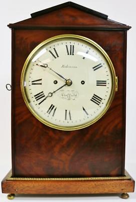 English Regency Twin Fusee Flame Mahogany 8 Day Bell Striking Bracket Clock 1830