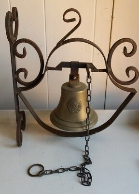 Antique Brass Door Bell With Cast Iron Wall Mounting