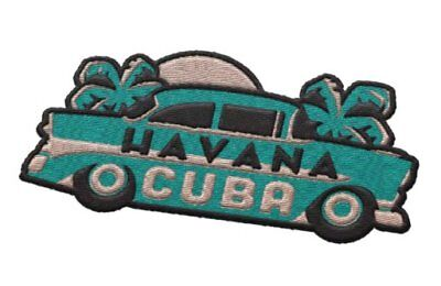 Havana Cuba Iron On Travel Patch - 56 Chevy and palm trees