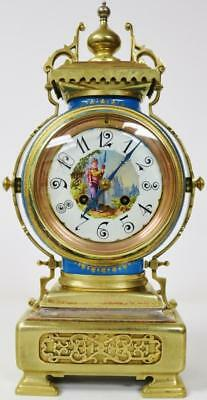 Antique French Ormolu & Blue Serves Porcelain Mantel Clock 8 Day Striking C1870