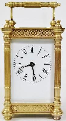 Antique Carved French Bronze Ormolu 8 Day Pierced Mantel Carriage Clock 1890