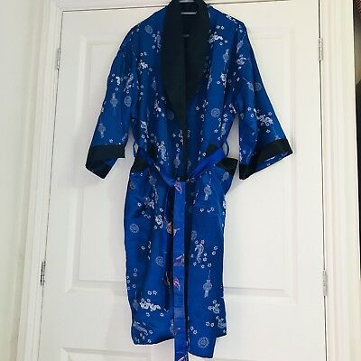Vintage Blue Oriental Embroidered Belted Kimono Gown Satin Robe Size S