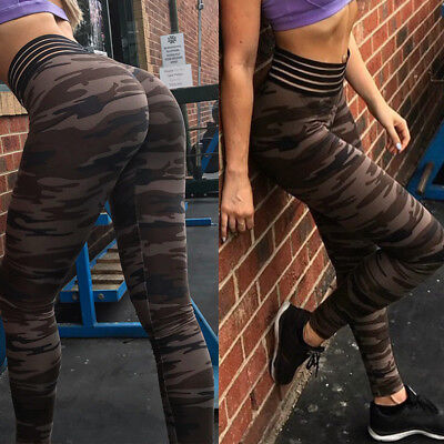 Women Yoga Fitness Leggings Camouflage Stretch Sports High Waist Pants Trousers