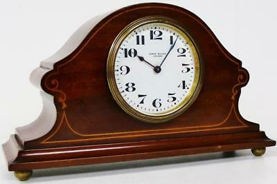 Antique James Walker 8 Day Inlaid Mahogany Mantel Desk Clock Fully Working