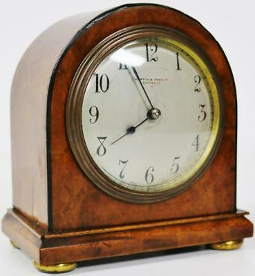 London Burr Walnut 8 Day French Mantel Clock Silvered Dial Mappin & Webb C1900