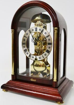 Fine Stunning Mahogany & Glass 8 Day Bell Striking Mantel Clock By Franze Hermle