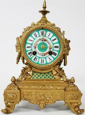 Superb Antique Gilt Spelter & Painted Aqua Sevres 8 Day Striking Mantel Clock